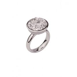 Кольцо стальное женское с серебристыми полимерными кристаллами