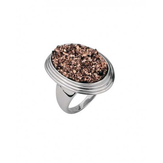 Кольцо стальное женское с полимерными кристаллами цвета шампанского