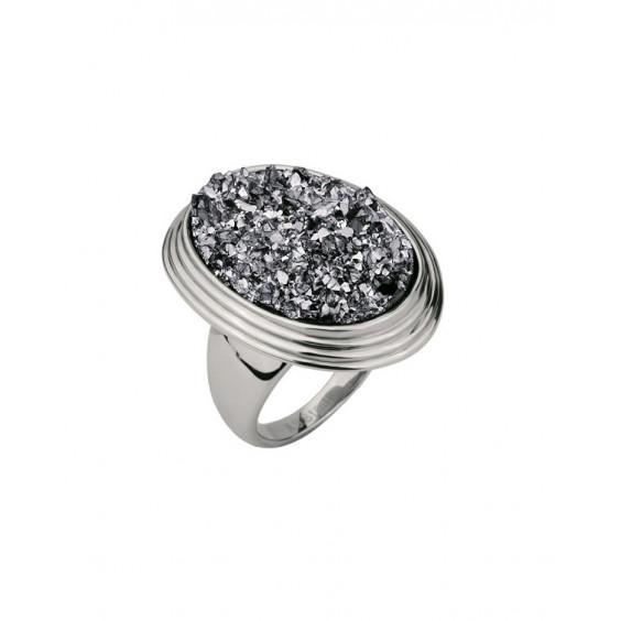 Кольцо стальное женское с серыми полимерными кристаллами