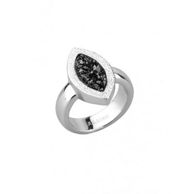 """Кольцо из стали """"капля"""" женское с черными полимерными кристаллами"""