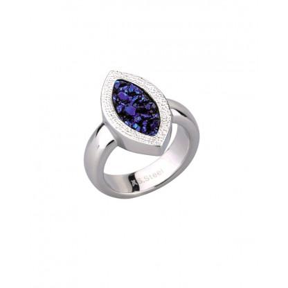"""Кольцо из стали """"капля"""" женское с синими полимерными кристаллами"""