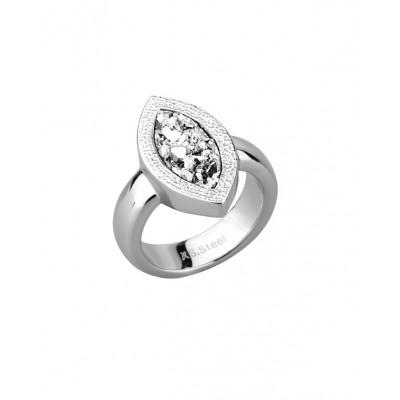 """Кольцо из стали """"капля"""" женское с серебристыми полимерными кристаллами"""