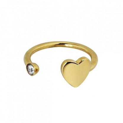 Кольцо кафф из стали с сердечком и золотым pvd, коллекция Hearts Club