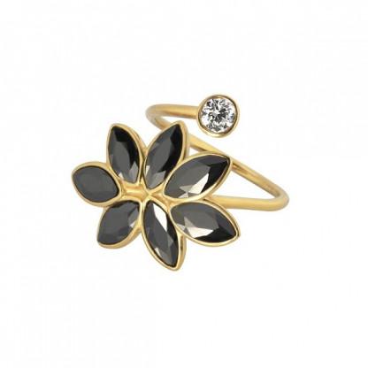"""Кольцо кафф из стали """"Ветвь"""" с черными кристаллами, коллекция Spring"""