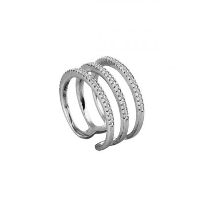 Кольцо серебряное кафф тройное с прозрачными фианитами