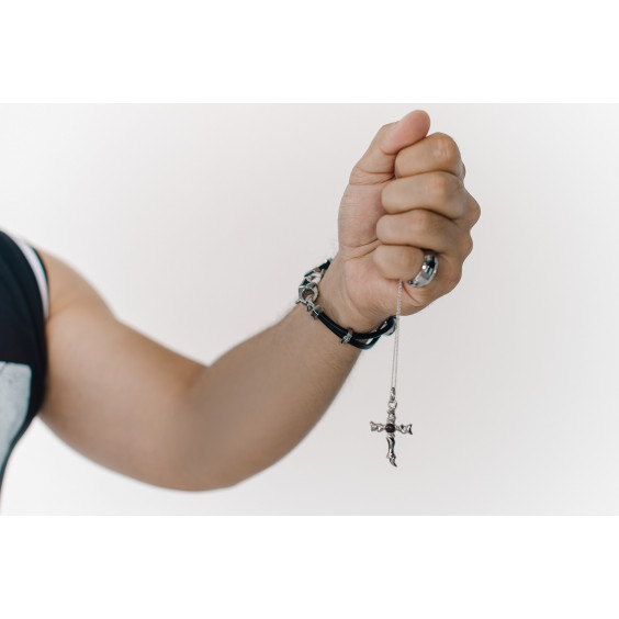 """Кулон из стали """"Крест"""" волнообразный"""