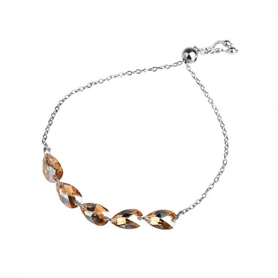 Браслет из серебра 925 с кристаллами Swarovski цвета шампанского