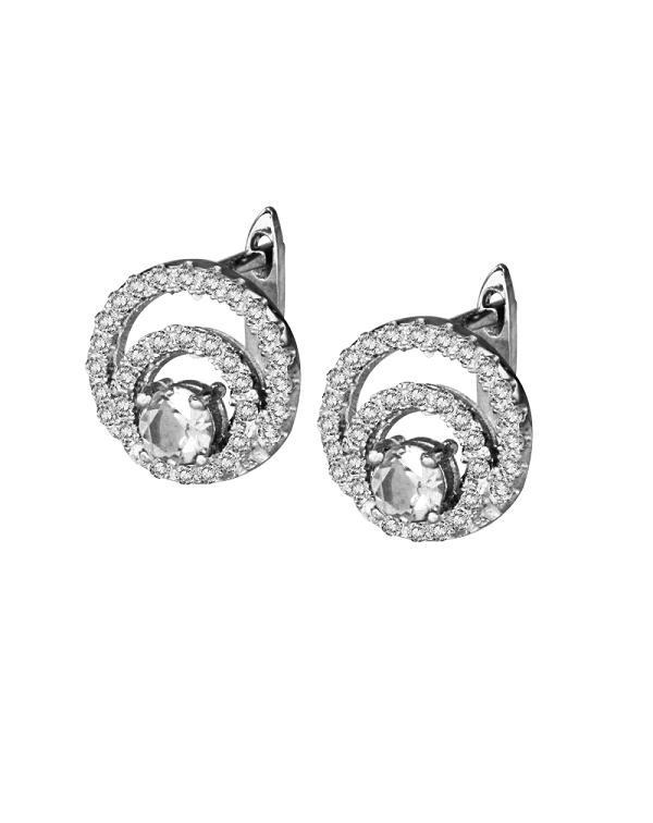 Серьги серебряные с крупным фианитом и россыпью из маленьких цирконов