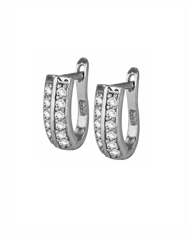 Серьги серебряные с фианитами в два ряда