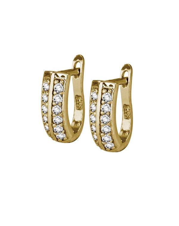 Серьги серебряные с фианитами в два ряда, золотое покрытие