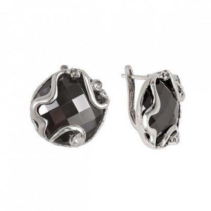 Сережки из серебра 925 с гематитом и фианитами