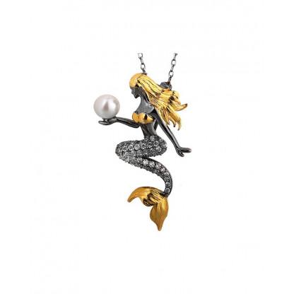 """Кулон """"русалочка"""" из серебра 925 с жемчугом, фианитами и позолотой"""