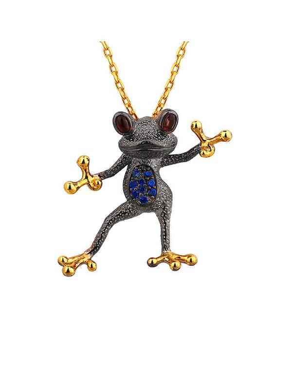 """Кулон """"лягушка"""" из серебра 925 с гранатом, синей шпинелью и позолотой"""