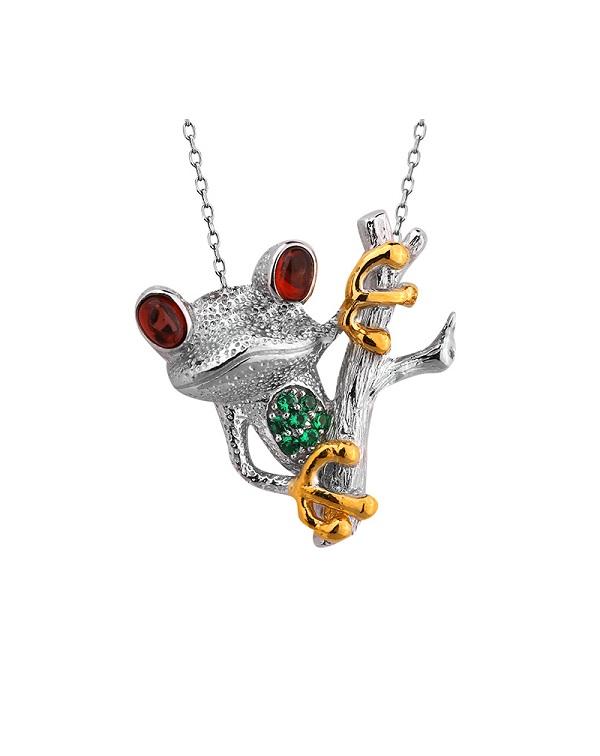 """Кулон серебряный """"лягушка на ветке"""" с гранатом, шпинелью и позолотой"""