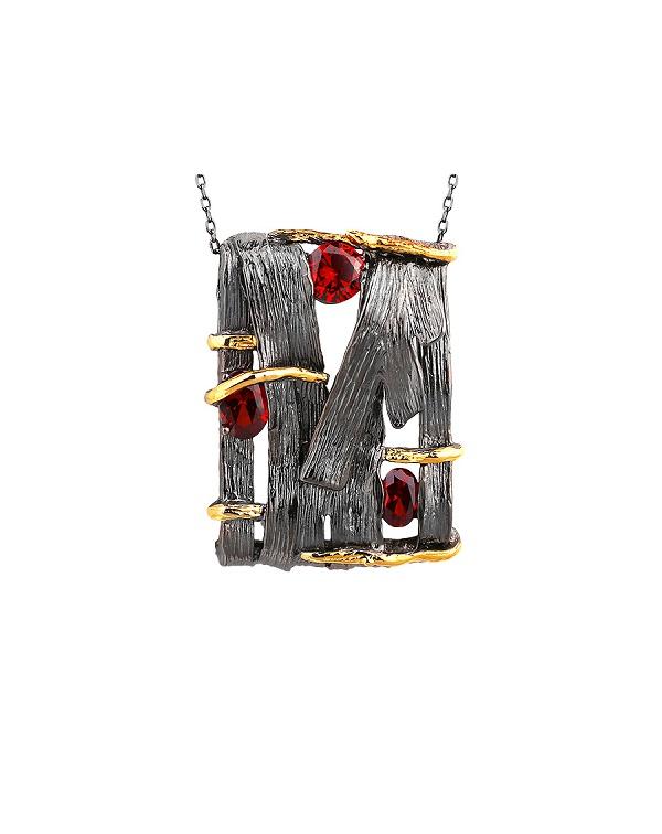 Кулон из серебра 925 с фианитом гранатового цвета и позолотой