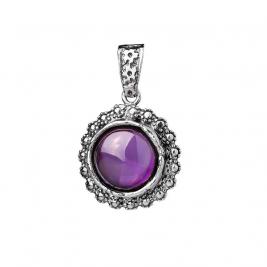 Кулон из серебра 925 с крупным фиолетовым фианитом