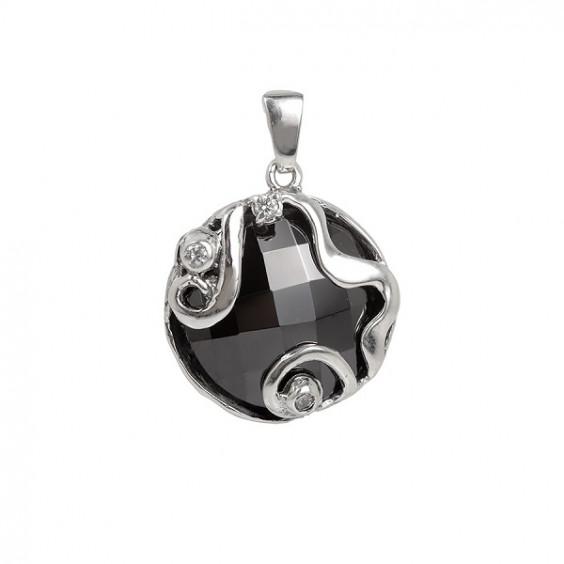 Кулон из серебра 925 с гематитом и фианитами