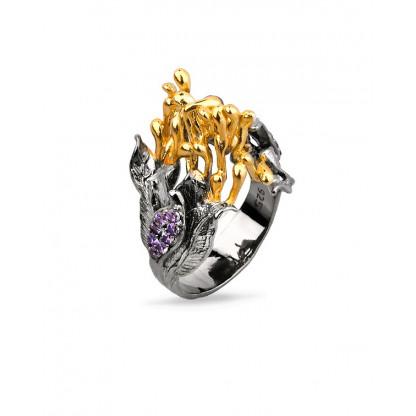 Кольцо из серебра 925 с сиреневыми фианитами и позолотой 585