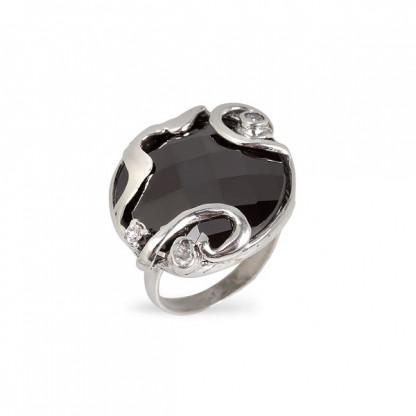Кольцо из серебра 925 с гематитом и фианитами