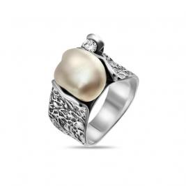 Кольцо из серебра 925 с жемчугом и фианитом