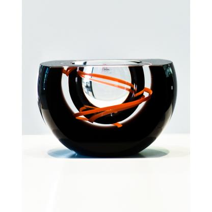 Чаша из чешского стекла с прозрачным центром и красно-оранжевой спиралью