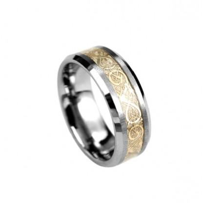 Кольцо стальное с вольфрамовым покрытием и золотым PVD-напылением