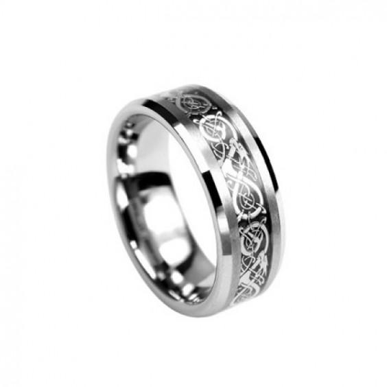 Кольцо стальное с вольфрамовым покрытием и необычными узорами