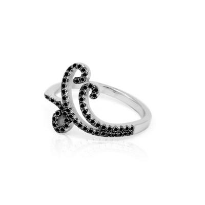 Кольцо ажурное с черными фианитами в ассортименте, серебро 925 пробы