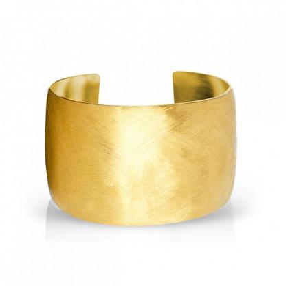 Браслет стальной широкий с золотым PVD и матовой поверхностью