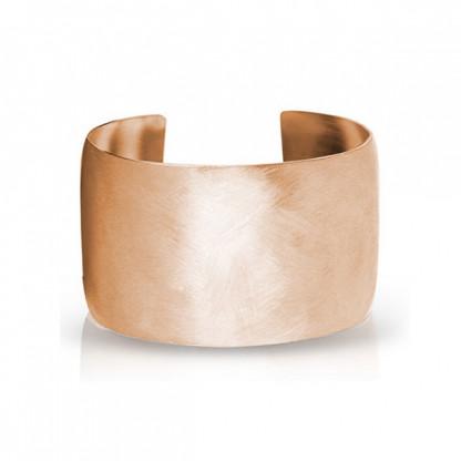 Браслет стальной широкий с PVD розовое золото и матовой поверхностью