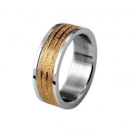 Кольцо стальное с алмазным напылением золотого цвета