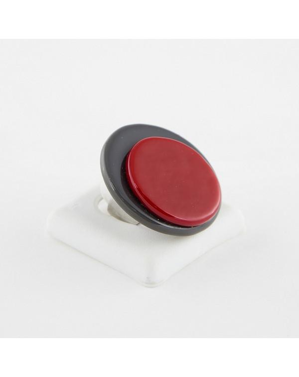 Кольцо женское серо-красное из муранского стекла