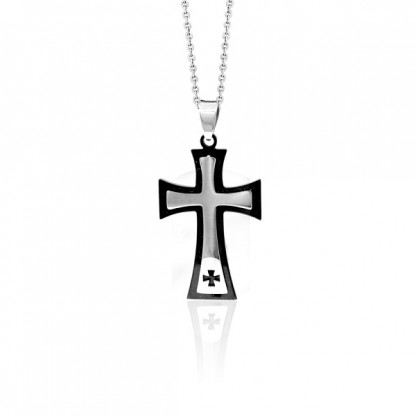 "Кулон ""Крест"" с черным pvd"