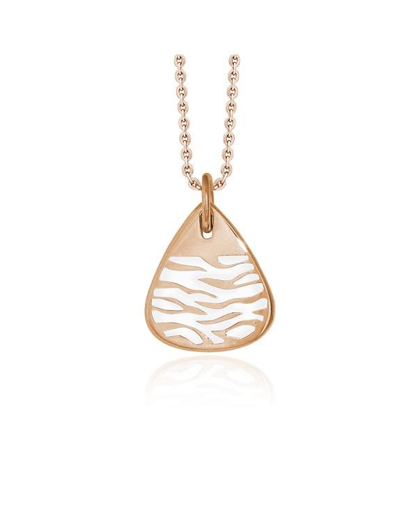 """Кулон """"Сафари"""" из стали, покрытие розовое золото, эмаль"""