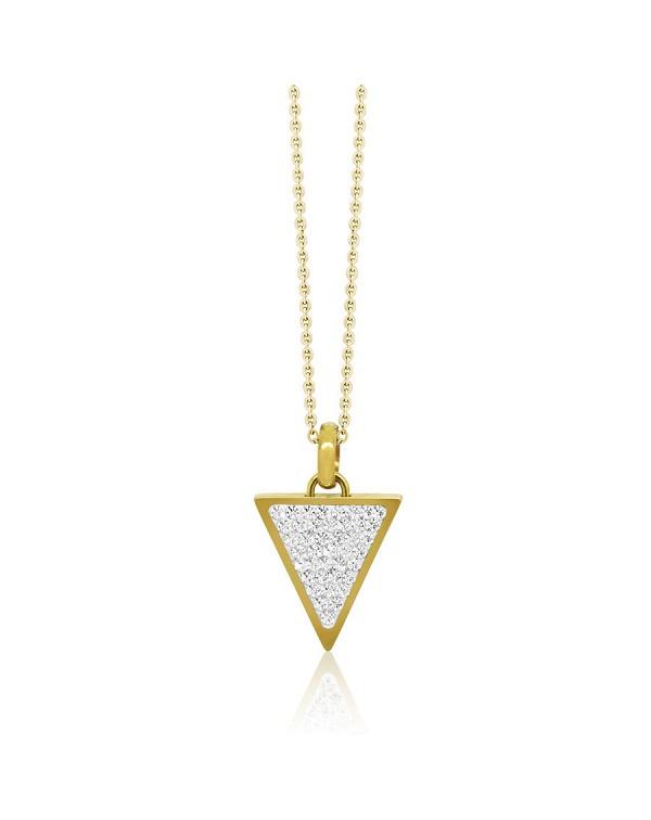 Кулон из стали треугольной формы, с фианитами, покрытие желтое золото