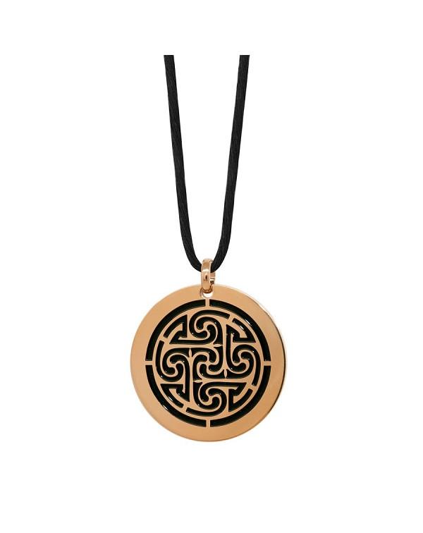Кулон из стали с кельтскими мотивами, покрытие розовое золото + черное