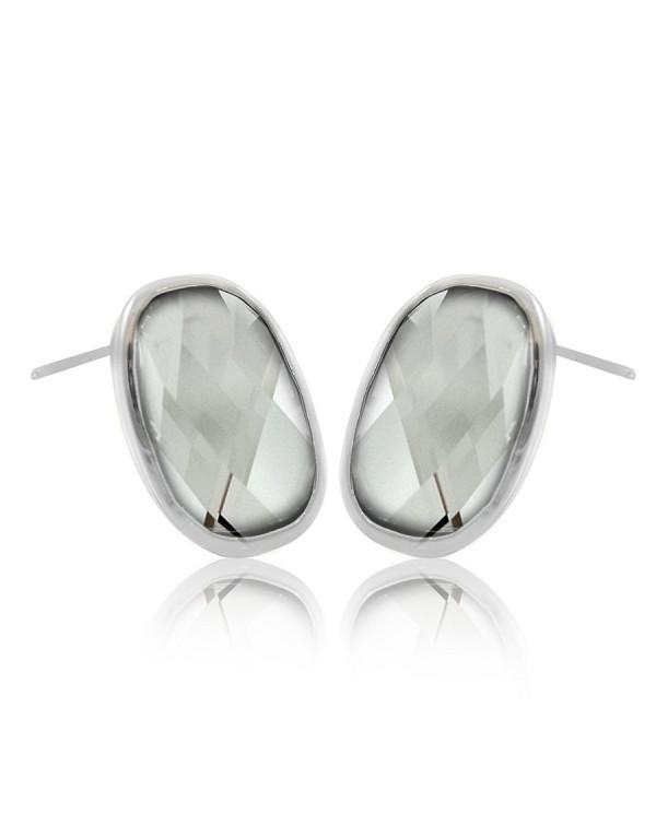 Серьги гвоздики овальные с кристаллами сваровски,ювелирный сплав с родированным покрытием