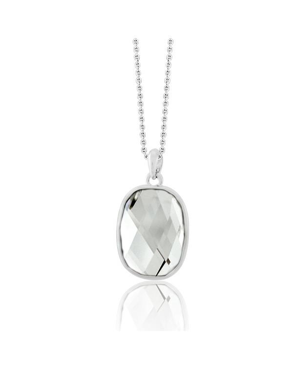 Кулон с прозрачным кристаллом сваровски, ювелирный сплав с родированным покрытием