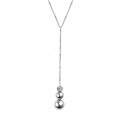 Ожерелье из стали с тремя бусинами и кристаллами