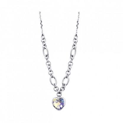 Ожерелье из стали с кристаллом AB Сердце