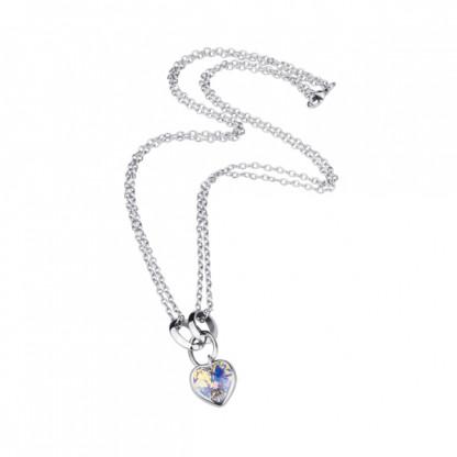 Ожерелье из стали с кристаллом АВ в виде сердца