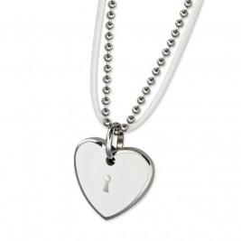 """Ожерелье из стали и кожи """"Сердце"""" с белым эпоксидом"""