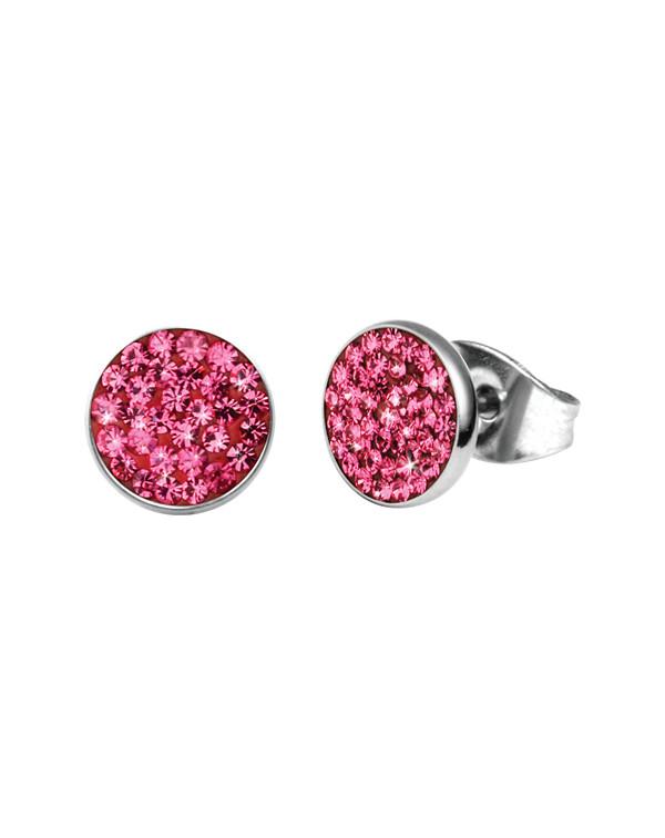 Серьги-гвоздики из стали, розовые кристаллы