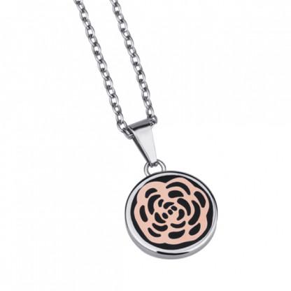 Кулон из стали, покрытие розовое золото и черное