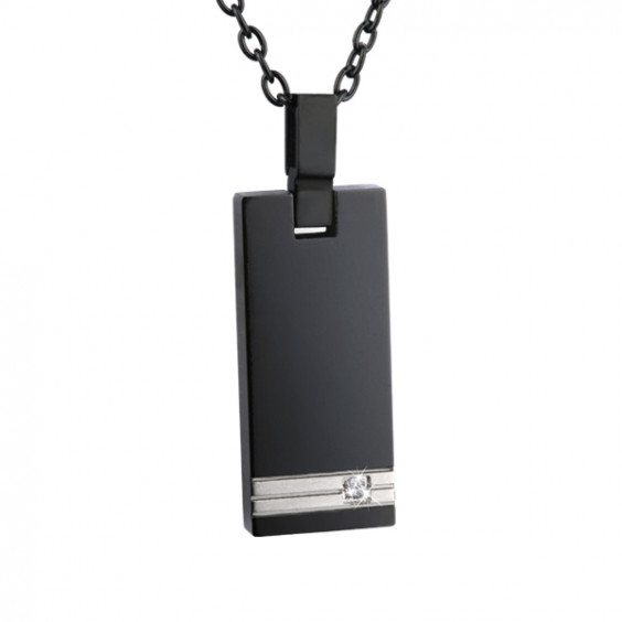 Кулон прямоугольный из титана с фианитом, черное покрытие