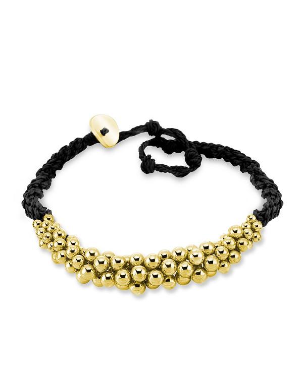 Браслет из шнурков плетеной шелковой нити с золотыми шариками