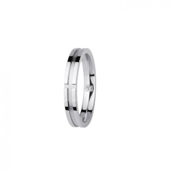 Кольцо стальное унисекс с прозрачным фианитом внутри