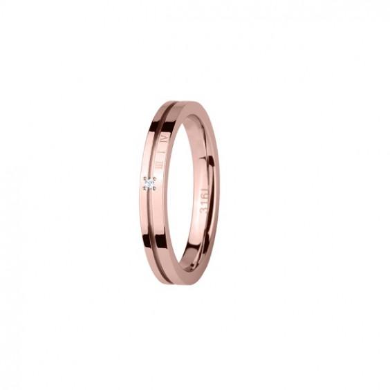 Кольцо стальное с римскими цифрами и фианитом, покрытие розовое золото