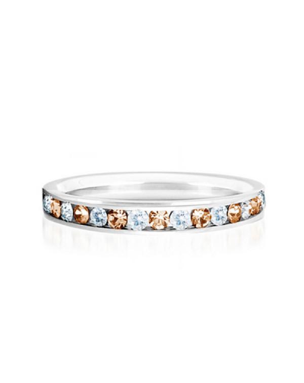 """Кольцо стальное с рядом цирконов белого и персикового цвета, коллекция """"Самоцветы"""""""