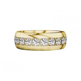 Кольцо стальное с pvd покрытием золотого цвета, с белыми фианитами